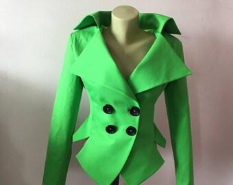 Women's Green Jacket, Fitted Spring Blazer, Tailored Blazer,Steampunk Black Jacket,Goth Blazer,Black party Jacket