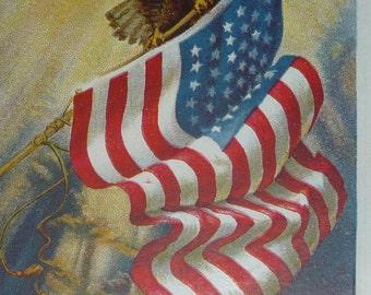Eagle and American Flag Patriotic Antique Postcard