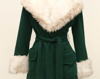 reserved for Sara k. green coat with fur collar and cuffs vintage 1970s
