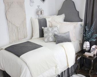 Grey Velvet Custom Twin Dorm Headboard