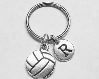 Initial Keychain, Volleyball Keychain, Sports Keychain, Friend Keychain, Sister Gift Daughter Initial Keychain