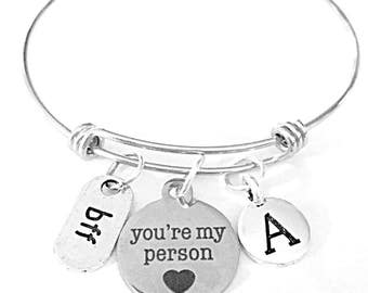 Best Friend Gift, You're My Person Charm Bangle Bracelet, Initial Bracelet, Best Friend Bracelet, Bff Gift Bangle Charm Bracelet