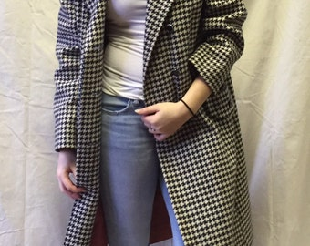 Navy and Cream Vintage Houndstooth Coat