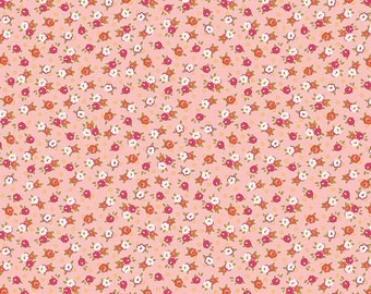 Peachy Pink Floral Quilt Fabric, Riley Blake C5025 Pink, Farm Girl by October Afternoon, Flower Fabric, Cotton