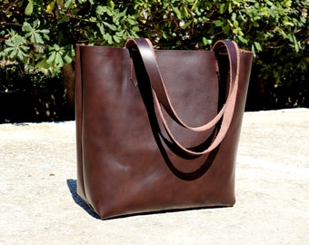 Leather Tote bag, HAND STITCHED, Dark Brown Leather Tote Bag, Distressed leather tote, Women Bag, MEDIUM, Customization available