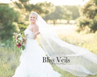 Chapel Length Veil,  Wedding Veil, One Layer Bridal, Long Veil, Ivory Veil, White Veil, Multiple colors and lengths available!