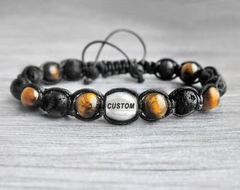 Mens Personalized Bracelet men's bracelet Initial bracelet Tiger eye bracelet Custom Bracelet Mens gift for him Boyfriend Gift for men gifts