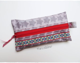Small wet cloth bag - chirp - star - grey red