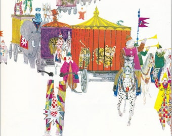 Circus comes to town Lion cage 70's mid century colourful children's illustration retro nursery decor Brian Wildsmith 8.5x11 inches