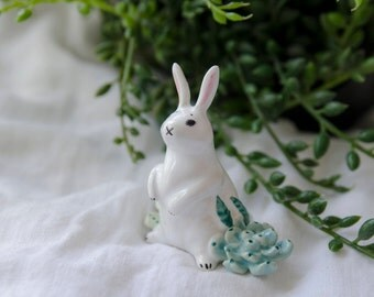 Ceramic hare figurine / Bunny Miniature / Clay Bunny Figurine / Ceramic rabbit totem/ Ceramic animals /Pottery animal /Home decor