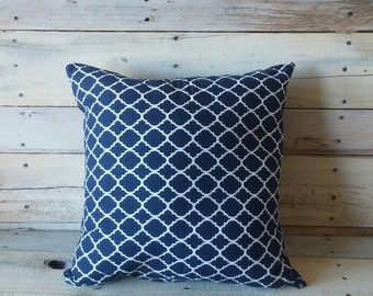 Navy Blue and White Moroccan Trellis Accent Pillow, Decorative Pillow, Throw Pillow, Couch Cushion, Pillow Cover