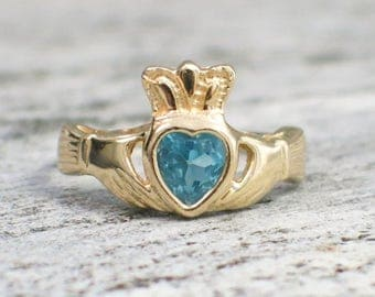 14K Blue Topaz Vintage Claddagh Ring