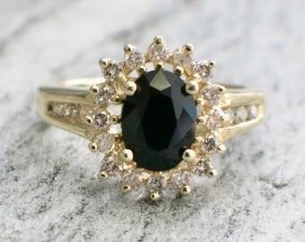 14K Gold Diamond and Onyx Ring