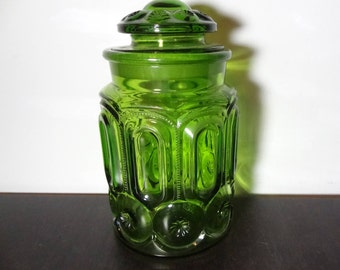 Vintage  L.E. Smith Moon & Stars Green Glass Canister/Apothecary Jar