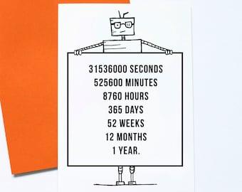 One Year Older, Geek Birthday, Robot Birthday Card, Anniversary Card, Techie Robot Card, Maths Birthday, Numbers Nerd