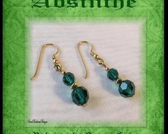 ABSINTHE EARRiNGS GREEN CRYSTAL Absinthe Fairy Costume Earrings Emerald Crystal Steampunk Victorian Earrings by SweetDarknessDesigns