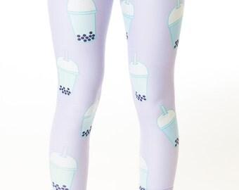 Bubblicious Leggings, bubble tea leggings, lavender, kawaii, pastel goth leggings, cute, pastel leggings, fairy kei