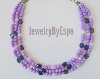 Purple Necklace, Crystal Necklace, Lavender, Lilac, Statement Necklace, Layered Necklace, Chunky, Bib, Layering, Purple Wedding,Multi Strand