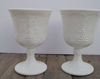 Harvest Grape Milk Glass Goblets - Set of 2