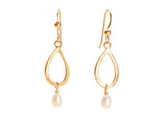 14KY Gold Small Single Waterdrop & Pearl Earring