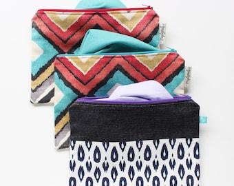 """Purple Makeup Bag // Ikat Makeup Pouch // Ikat Zip Case // Vibrant Zip Pouch // 9""""x7"""" Large Zip Bag"""