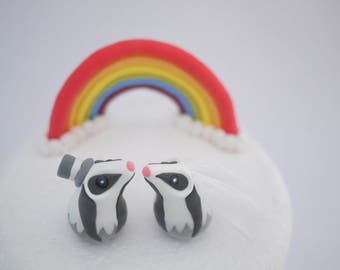 Badger Bride and Groom Wedding Cake Topper (With or Without Rainbow)