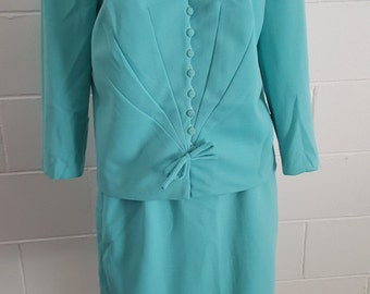 Vintage 50's tiffany blue Vogue Line by Barolds jacket skirt crimped terylene suit pill box hat Jackie O SSW