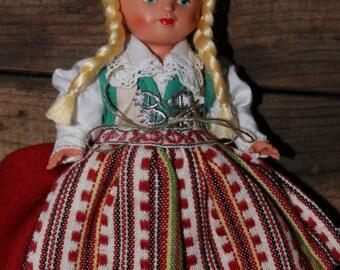 Herrestad Sweden Vintage Souvenir Doll National Costume Ingeborg Rudolph Traditional Folk Dress
