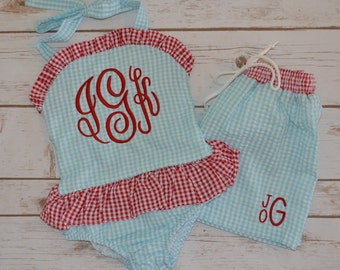 Girl's Monogrammed One-Piece Swimsuit
