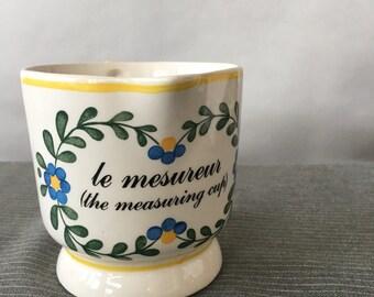Vintage Sigma Taste Setter Measuring Cup, Le Leçon de Français Marsten-Mandrajji   le mesureur, french kitchen decor, made in portugal