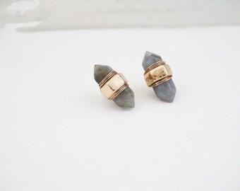 Grey Stone Wrapped Stud Earrings