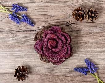 Crochet brooch, Handmade flower brooch, lapel pin, shawl pin, red brooch, crochet rose pin, handmade jewelry, gift for her, crochet flower