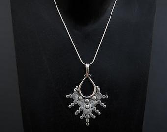 Silver Pendant, Silver Necklace, Pendant Necklace, Spiral Pendant, Tribal Pendant, Sterling Silver, Silver Chain, 925