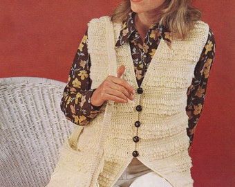 Vintage crochet PDF pattern crocheted loopy fringe vest sleeveless cardigan INSTANT download pattern only 1970s waistcoat with bag
