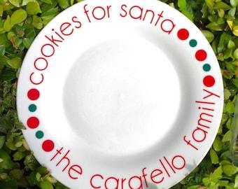 Cookies and Milk for Santa/Santa Cookie Plate/Santa Plate/Cookie for Santa Plate/Cookies and Milk/Santa Plate Set/Christmas Plate