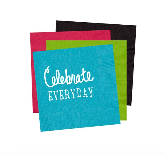 Cocktail napkins, celebrate everyday napkins, personalized napkins, foil atamped napkins, party napkins, birthday napkins, bar cart decor