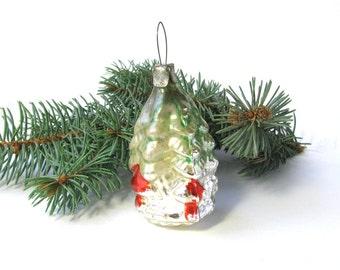 Rare Christmas tree decoration, Glass Christmas tree, Mushrooms, Xmas ornament, New Year, Russian Toy, USSR, Soviet Union, 1960s