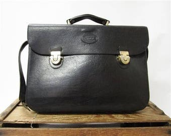 Oroton Australia Vintage Classic Black Leather Briefcase Messenger Laptop Bag
