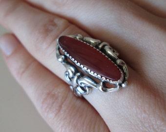 BEAU Gemstone Sterling Silver Vintage Carnelian Ring, size 6