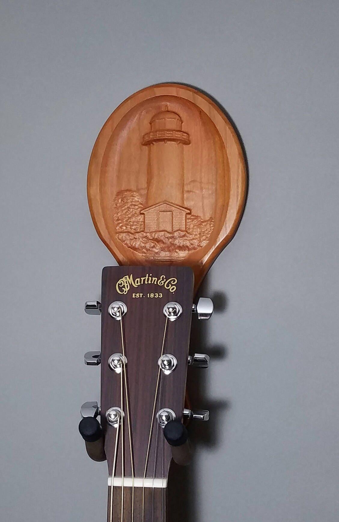 Guitar hanger lighthouse carving wall art player