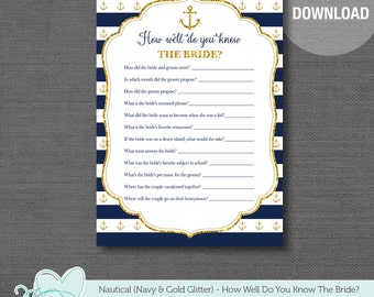 Nautical Navy and Gold Glitter How Well Do You Know The Bride Bridal Shower Game Printable, Anchor, Navy and Gold, Navy and White Stripes,2N