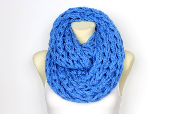 Xmas Knit Blue Scarf Handknit Blue Snood Xmas Gifts For Wife Big Oversized Scarf Winter Large  Cowl Snood Scarf Circle Scarves Chunky Knit