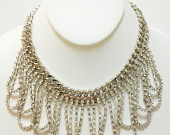 Silver Chain Crystal Clear Rhinestones Necklace / Bib Necklace.