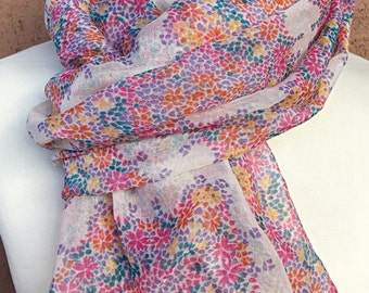 Multicolored Tiny Flowers Infiniti Scarf / Fabric Scarf / Spring Summer Scarf.