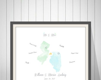 Wedding Map Guest Book, Alternative Guest Book, Wedding Personalized Map Print, Wedding Gift, Map States Print, Personalized Map Print-60977