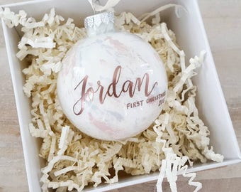 Personalized BABY'S FIRST CHRISTMAS Ornament gift with calligraphy - One (blue & pink)