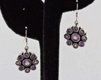Sterling Silver And 6cttw Amethyst Flower Earrings