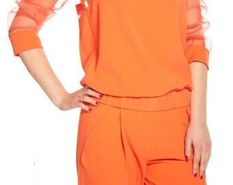 Organza Top/Extravagant Blouse/Summer Shirt/Summer Tunic/Elegant Top/F1057