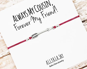 """Choose Your Charm Friendship Bracelet with """"Always My Cousin, Forever My Friend"""" Card 