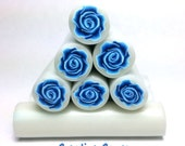Blue 3D Rose Cane, Raw Unbaked Cane, Polymer Clay Cane, Millefiori Cane, Flower Cane, Floral raw cane.